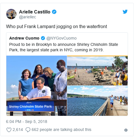 Twitter post by @ariellec: Who put Frank Lampard jogging on the waterfront