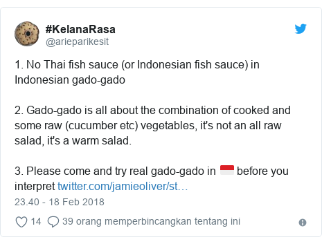 Twitter pesan oleh @arieparikesit: 1. No Thai fish sauce (or Indonesian fish sauce) in Indonesian gado-gado2. Gado-gado is all about the combination of cooked and some raw (cucumber etc) vegetables, it's not an all raw salad, it's a warm salad.3. Please come and try real gado-gado in 🇮🇩 before you interpret