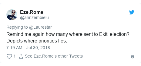 Twitter post by @arinzembielu: Remind me again how many where sent to Ekiti election? Depicts where priorities lies.