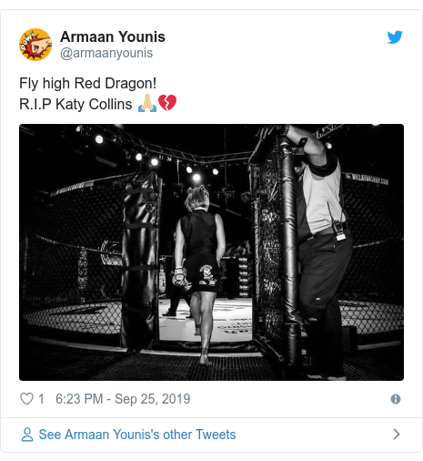 Twitter post by @armaanyounis: Fly high Red Dragon! R.I.P Katy Collins 🙏🏼💔