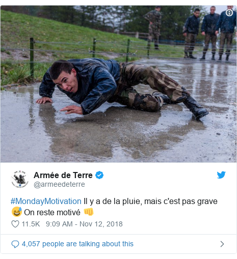 Twitter post by @armeedeterre: #MondayMotivation Il y a de la pluie, mais c'est pas grave 😅On reste motivé 👊