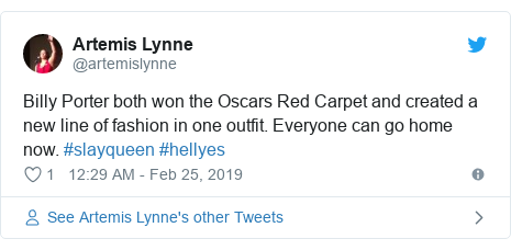 Twitter post by @artemislynne: Billy Porter both won the Oscars Red Carpet and created a new line of fashion in one outfit. Everyone can go home now. #slayqueen #hellyes