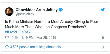 Twitter post by @arunjaitley: Is Prime Minister Narendra Modi Already Giving to Poor Much More Than What the Congress Promises?