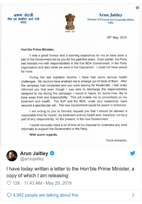 Twitter post by @arunjaitley: I have today written a letter to the Hon'ble Prime Minister, a copy of which I am releasing
