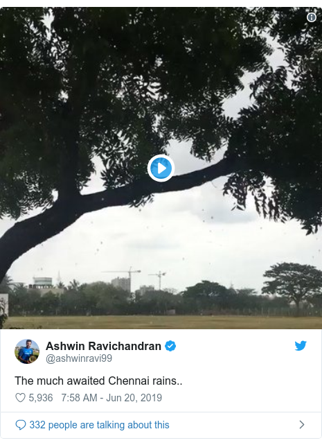Twitter post by @ashwinravi99: The much awaited Chennai rains..