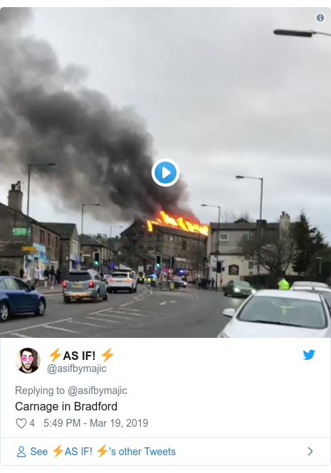Twitter post by @asifbymajic: Carnage in Bradford