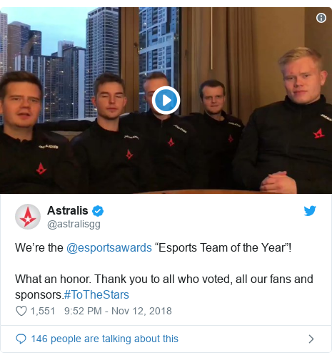 "Twitter post by @astralisgg: We're the @esportsawards ""Esports Team of the Year""!What an honor. Thank you to all who voted, all our fans and sponsors.#ToTheStars"