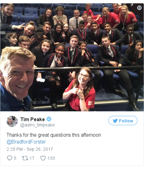 Twitter post by @astro_timpeake: Thanks for the great questions this afternoon @BradfordForster pic.twitter.com/2p6AnQgTZy