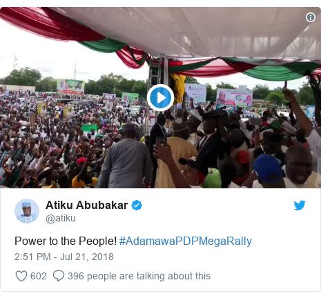 Twitter post by @atiku: Power to the People! #AdamawaPDPMegaRally