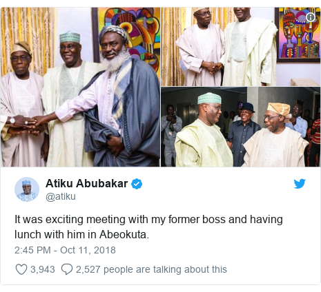 Twitter wallafa daga @atiku: It was exciting meeting with my former boss and having lunch with him in Abeokuta.