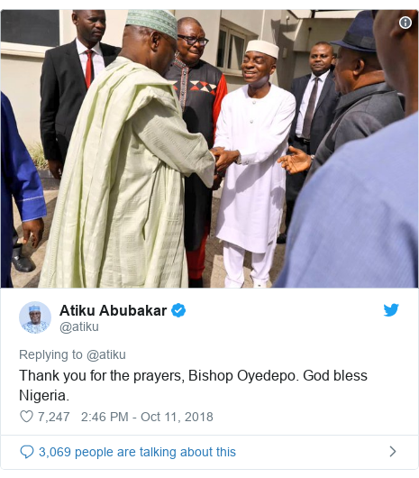 Twitter post by @atiku: Thank you for the prayers, Bishop Oyedepo. God bless Nigeria.