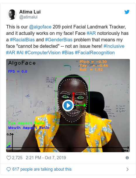 "Twitter post by @atimalui: This is our @algoface 209 point Facial Landmark Tracker, and it actually works on my face! Face #AR notoriously has a #RacialBias and #GenderBias problem that means my face ""cannot be detected"" -- not an issue here! #Inclusive #AR #AI #ComputerVision #Bias #FacialRecognition"