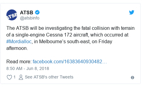 Twitter post by @atsbinfo: The ATSB will be investigating the fatal collision with terrain of a single-engine Cessna 172 aircraft, which occurred at #Mordialloc, in Melbourne's south-east, on Friday afternoon.Read more