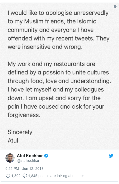 Twitter post by @atulkochhar: