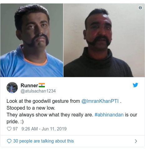 Twitter post by @atulsachan1234: Look at the goodwill gesture from @ImranKhanPTI . Stooped to a new low. They always show what they really are. #abhinandan is our pride.  )