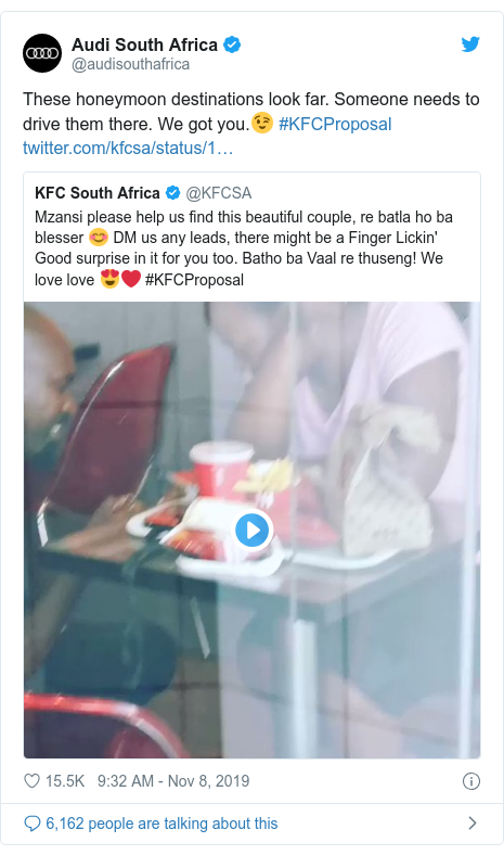 Twitter post by @audisouthafrica: These honeymoon destinations look far. Someone needs to drive them there. We got you.😉 #KFCProposal