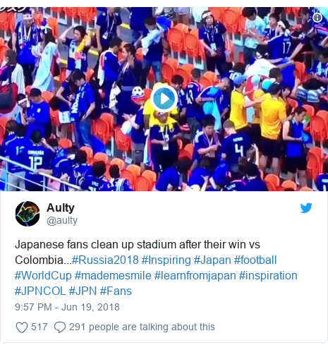 Twitter post by @aulty: Japanese fans clean up stadium after their win vs Colombia...#Russia2018 #Inspiring #Japan #football #WorldCup #mademesmile #learnfromjapan #inspiration #JPNCOL #JPN #Fans