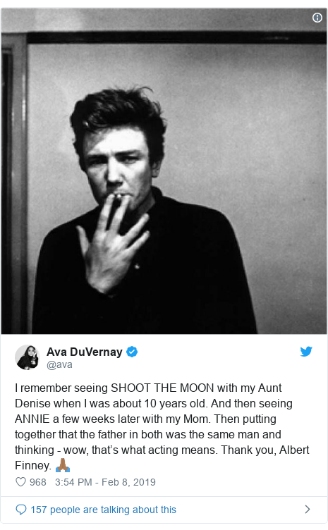 Twitter post by @ava: I remember seeing SHOOT THE MOON with my Aunt Denise when I was about 10 years old. And then seeing ANNIE a few weeks later with my Mom. Then putting together that the father in both was the same man and thinking - wow, that's what acting means. Thank you, Albert Finney. 🙏🏾