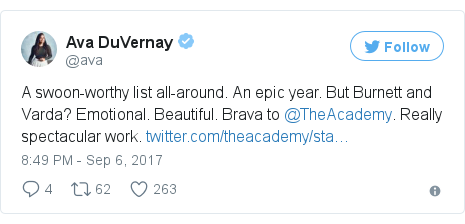 Twitter post by @ava: A swoon-worthy list all-around. An epic year. But Burnett and Varda? Emotional. Beautiful. Brava to @TheAcademy. Really spectacular work. https //t.co/j4nRffBrfz