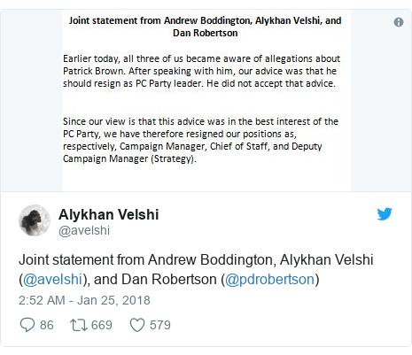 Twitter post by @avelshi: Joint statement from Andrew Boddington, Alykhan Velshi (@avelshi), and Dan Robertson (@pdrobertson)