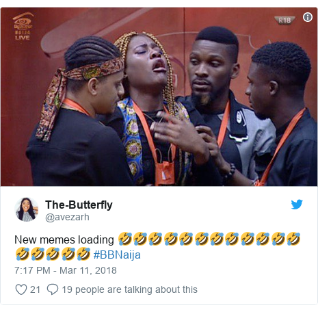 Twitter post by @avezarh: New memes loading 🤣🤣🤣🤣🤣🤣🤣🤣🤣🤣🤣🤣🤣🤣🤣🤣🤣 #BBNaija