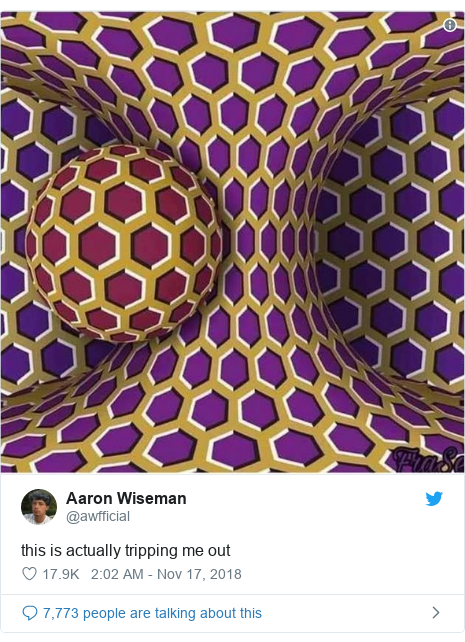 Twitter post by @awfficial: this is actually tripping me out