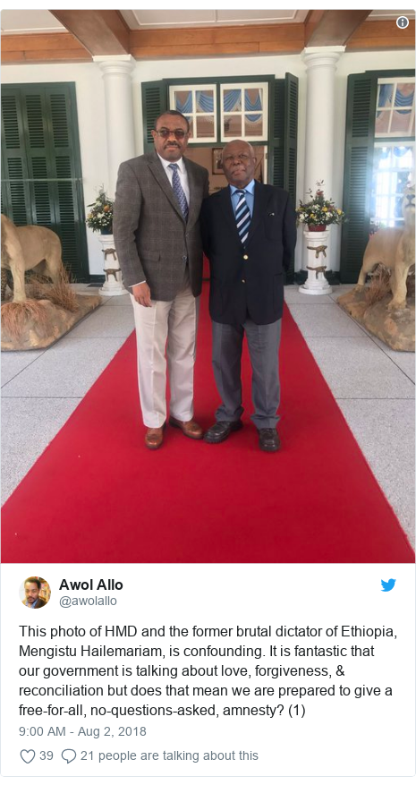 Twitter post by @awolallo: This photo of HMD and the former brutal dictator of Ethiopia, Mengistu Hailemariam, is confounding. It is fantastic that our government is talking about love, forgiveness, & reconciliation but does that mean we are prepared to give a free-for-all, no-questions-asked, amnesty? (1)
