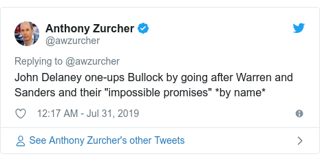 "Twitter post by @awzurcher: John Delaney one-ups Bullock by going after Warren and Sanders and their ""impossible promises"" *by name*"