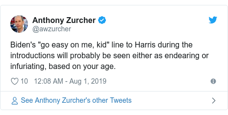 "Twitter post by @awzurcher: Biden's ""go easy on me, kid"" line to Harris during the introductions will probably be seen either as endearing or infuriating, based on your age."