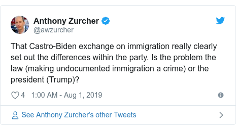 Twitter post by @awzurcher: That Castro-Biden exchange on immigration really clearly set out the differences within the party. Is the problem the law (making undocumented immigration a crime) or the president (Trump)?
