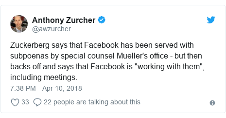"Twitter post by @awzurcher: Zuckerberg says that Facebook has been served with subpoenas by special counsel Mueller's office - but then backs off and says that Facebook is ""working with them"", including meetings."
