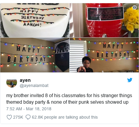 Twitter post by @ayenalambat: my brother invited 8 of his classmates for his stranger things themed bday party & none of their punk selves showed up