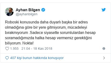 @ayhanbilgen tarafından yapılan Twitter paylaşımı: Roboski konusunda daha duyarlı başka bir adres olmadığına göre bir yere gitmiyorum, mücadeleyi bırakmıyorum .Sadece siyasette sorumlulardan hesap soramadığımızda halka hesap vermemiz gerektiğini biliyorum. Nokta!