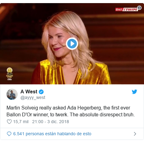 Publicación de Twitter por @ayyy_west: Martin Solveig really asked Ada Hegerberg, the first ever Ballon D'Or winner, to twerk. The absolute disrespect bruh.
