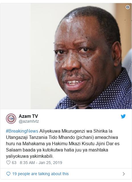 Ujumbe wa Twitter wa @azamtvtz: #BreakingNews Aliyekuwa Mkurugenzi wa Shirika la Utangazaji Tanzania Tido Mhando (pichani) ameachiwa huru na Mahakama ya Hakimu Mkazi Kisutu Jijini Dar es Salaam baada ya kutokutwa hatia juu ya mashtaka yaliyokuwa yakimkabili.