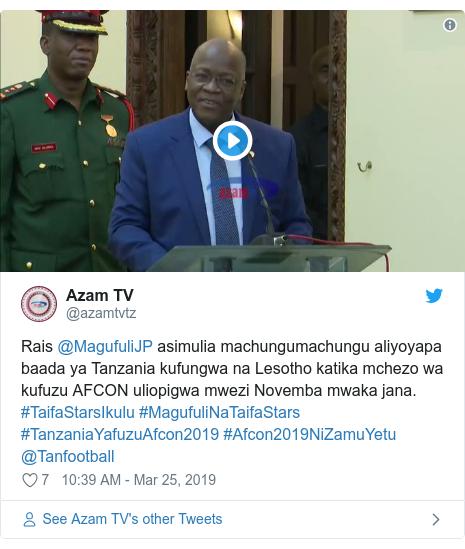 Ujumbe wa Twitter wa @azamtvtz: Rais @MagufuliJP asimulia machungumachungu aliyoyapa baada ya Tanzania kufungwa na Lesotho katika mchezo wa kufuzu AFCON uliopigwa mwezi Novemba mwaka jana. #TaifaStarsIkulu #MagufuliNaTaifaStars #TanzaniaYafuzuAfcon2019 #Afcon2019NiZamuYetu @Tanfootball