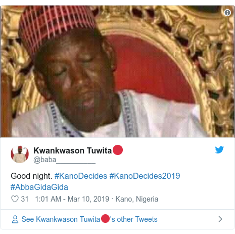 Twitter wallafa daga @baba__________: Good night. #KanoDecides #KanoDecides2019 #AbbaGidaGida