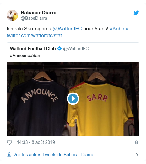 Twitter publication par @BabsDiarra: Ismaïla Sarr signe à @WatfordFC pour 5 ans! #Kebetu