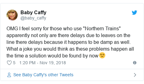 """Twitter post by @baby_caffy: OMG I feel sorry for those who use """"Northern Trains"""" apparently not only are there delays due to leaves on the line there delays because it happens to be damp as well. What a joke you would think as these problems happen all the time a solution would be found by now😒"""