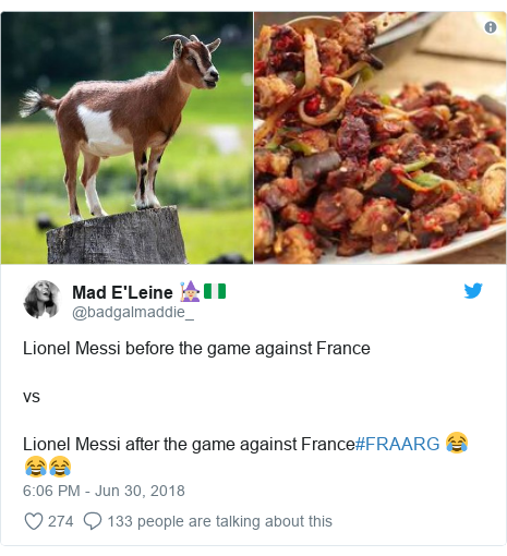 Twitter post by @badgalmaddie_: Lionel Messi before the game against FrancevsLionel Messi after the game against France#FRAARG 😂😂😂