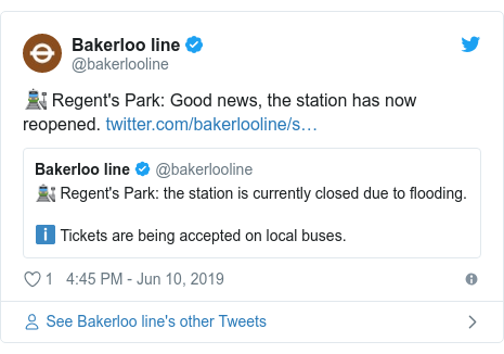 Twitter post by @bakerlooline: 🚉 Regent's Park  Good news, the station has now reopened.