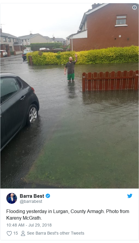 Twitter post by @barrabest: Flooding yesterday in Lurgan, County Armagh. Photo from Kareny McGrath.