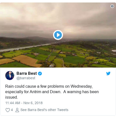 Twitter post by @barrabest: Rain could cause a few problems on Wednesday, especially for Antrim and Down.  A warning has been issued.