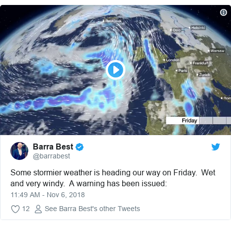 Twitter post by @barrabest: Some stormier weather is heading our way on Friday.  Wet and very windy.  A warning has been issued