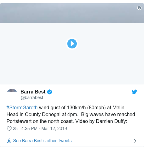 Twitter post by @barrabest: #StormGareth wind gust of 130km/h (80mph) at Malin Head in County Donegal at 4pm.  Big waves have reached Portstewart on the north coast. Video by Damien Duffy