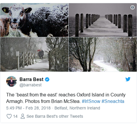 Twitter post by @barrabest: The 'beast from the east' reaches Oxford Island in County Armagh. Photos from Brian McStea. #IrlSnow #Sneachta