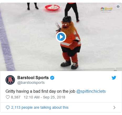 Twitter post by @barstoolsports: Gritty having a bad first day on the job @spittinchiclets