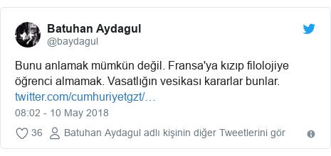 @baydagul tarafından yapılan Twitter paylaşımı: Bunu anlamak mümkün değil. Fransa'ya kızıp filolojiye öğrenci almamak. Vasatlığın vesikası kararlar bunlar.