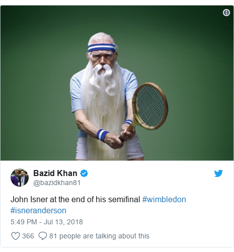 Twitter post by @bazidkhan81: John Isner at the end of his semifinal #wimbledon #isneranderson