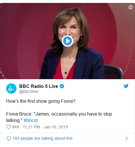 "Twitter post by @bbc5live: How's the first show going Fiona?Fiona Bruce  ""James, occasionally you have to stop talking."" #bbcqt"